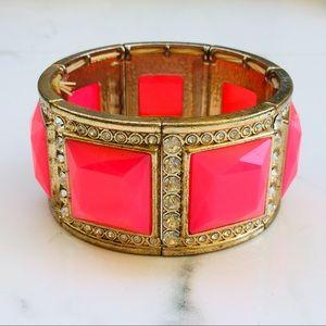 Gold pink square cabochon rhinestone bracelet